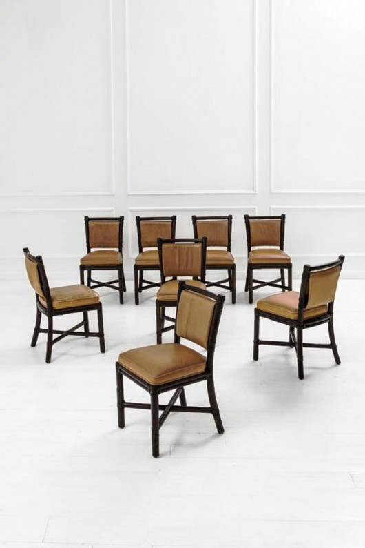Moioli Gallery 448's Set Of 48 McGuire Rattan Dining Chairs Best Mcguire Furniture Rental Set